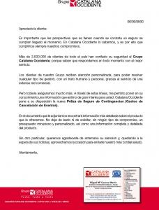 Detalles Carta Cancelación de Eventos